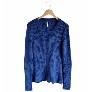 FREE PEOPLE Sweater Blue Scoop Neck Knit Med EUC